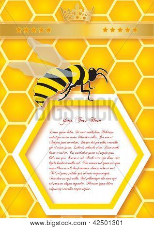 Honeycomb And Bees. Vector Background.eps