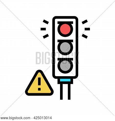 Prohibition Traffic Light For Safe Children Color Icon Vector. Prohibition Traffic Light For Safe Ch