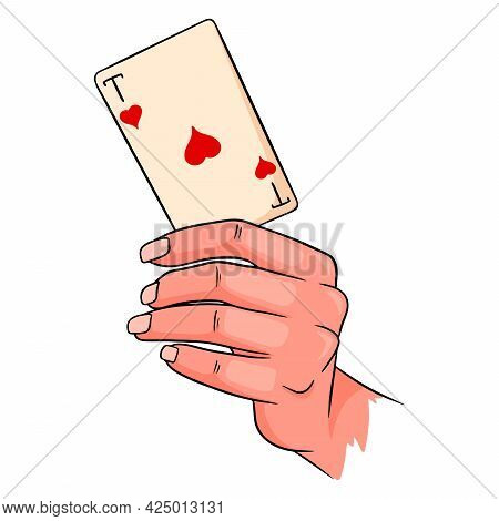 Gambling. Playing Card In Hand. Casino, Luck, Fortuna. Ace Of Hearts.