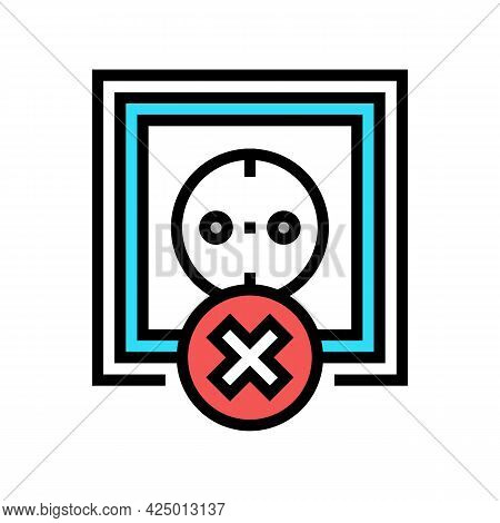 Socket Use Prohibition Kids Color Icon Vector. Socket Use Prohibition Kids Sign. Isolated Symbol Ill
