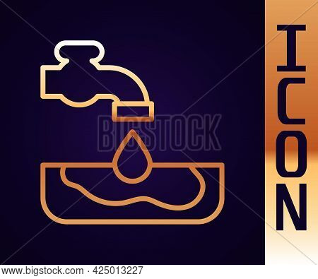 Gold Line Water Problem Icon Isolated On Black Background. Poor Countries Environmental Public Healt