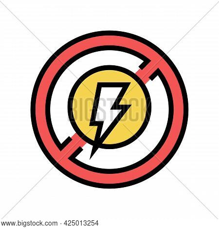 Lightning Prohibition Sign Color Icon Vector. Lightning Prohibition Sign Sign. Isolated Symbol Illus