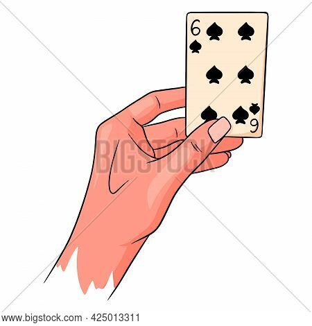 Gambling. Playing Card In Hand. Casino, Luck, Fortuna. Six Of Spades.