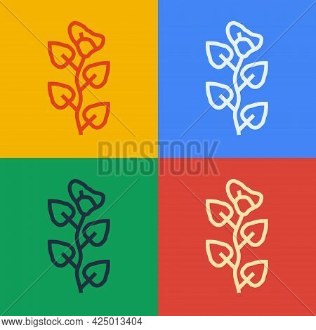 Pop Art Line Ivy Branch Icon Isolated On Color Background. Branch With Leaves. Vector