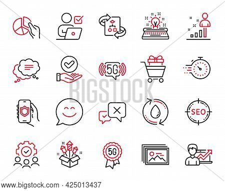 Vector Set Of Business Icons Related To Shopping Trolley, Pie Chart And Text Message Icons. Success