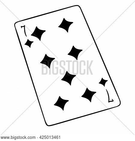 Gambling. Playing Card. Casino, Luck, Fortuna. Seven Of Tambourines.