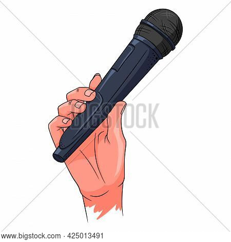 Music. Microphone In Hand. A Tool For Increasing The Sound. Cartoon Style.