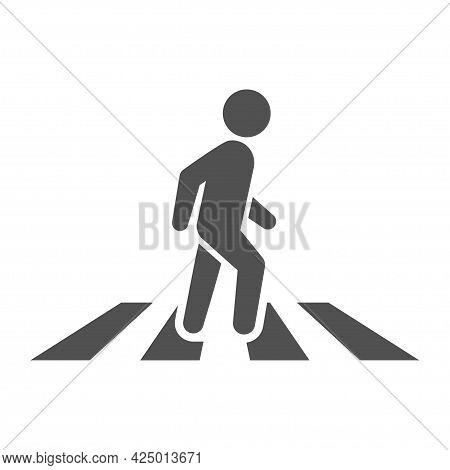 Monochrome Simple Pedestrian Crossing Icon Vector Flat Illustration. Crosswalk Zebra Logo