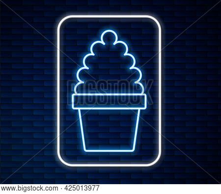 Glowing Neon Line Cactus Peyote In Pot Icon Isolated On Brick Wall Background. Plant Growing In A Po