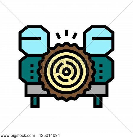 Wood Timber Sawmill Machine Color Icon Vector. Wood Timber Sawmill Machine Sign. Isolated Symbol Ill