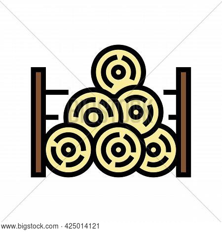 Wooden Timber Storage Color Icon Vector. Wooden Timber Storage Sign. Isolated Symbol Illustration