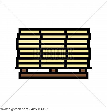 Wooden Planks On Pallet Color Icon Vector. Wooden Planks On Pallet Sign. Isolated Symbol Illustratio
