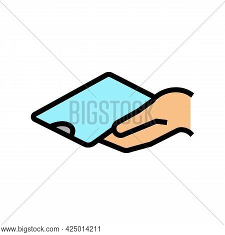 Phone Holding For Watching Video Color Icon Vector. Phone Holding For Watching Video Sign. Isolated