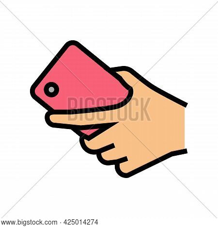 Hand Carrying Smartphone Color Icon Vector. Hand Carrying Smartphone Sign. Isolated Symbol Illustrat