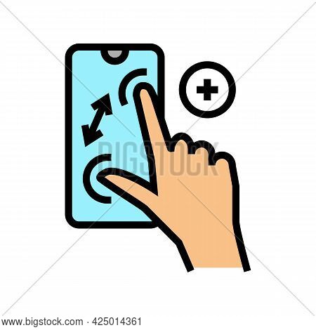 Zoom In Gesture Phone Screen Color Icon Vector. Zoom In Gesture Phone Screen Sign. Isolated Symbol I
