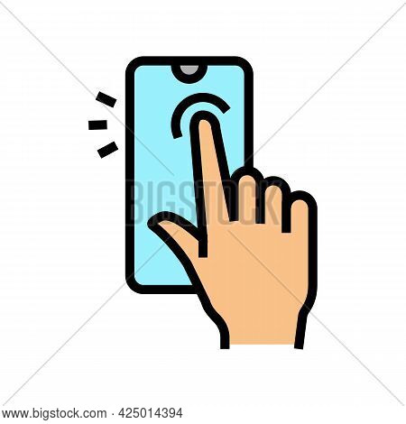 Tapping With Finger Smartphone Screen Color Icon Vector. Tapping With Finger Smartphone Screen Sign.