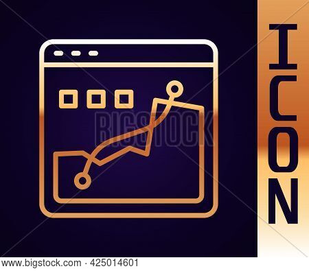 Gold Line Histogram Graph Photography Icon Isolated On Black Background. Vector