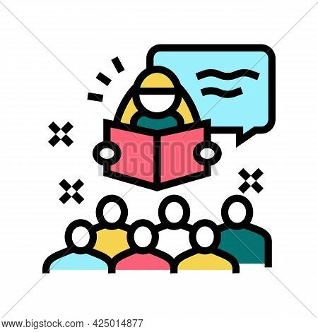 Story Time In Children Library Color Icon Vector. Story Time In Children Library Sign. Isolated Symb