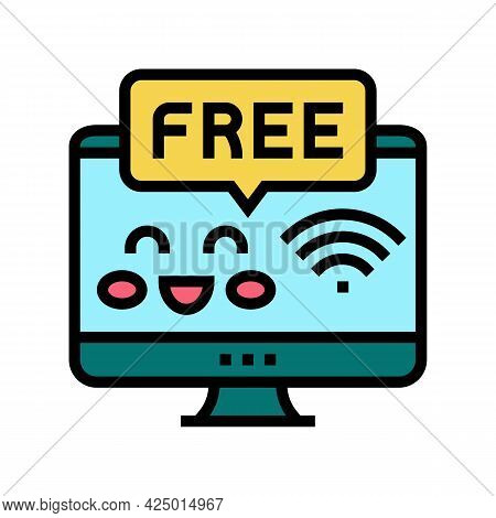 Free Internet In Children Library Color Icon Vector. Free Internet In Children Library Sign. Isolate