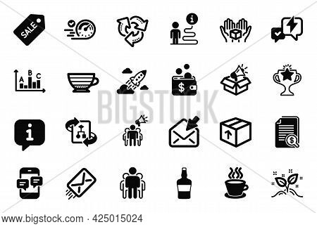 Vector Set Of Simple Icons Related To Tea Cup, Megaphone Box And Scotch Bottle Icons. Phone Messages