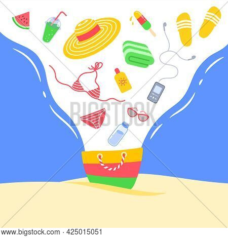 Summer Vacation Concept. Summer Bag With Beach Stuff For Perfect Day In The Sun. Creative Cartoon Il