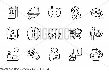 People Icons Set. Included Icon As Smile Chat, Hold Box, Developers Chat Signs. Global Business, Lik