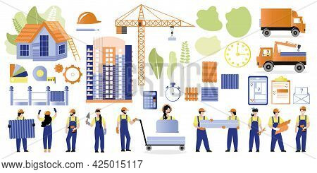 Big Set Construction Theme. Illustrations Of Builders And Houses, Machines, Building Materials And A
