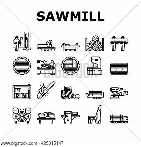 Sawmill Cut Service Collection Icons Set Vector. Sawmill Equipment For Cutting Wooden Timber And Mac