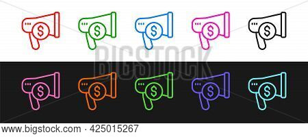 Set Line Megaphone And Dollar Icon Isolated On Black And White Background. Loud Speech Alert Concept