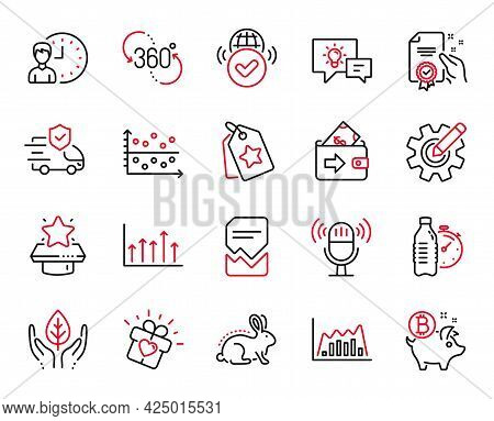 Vector Set Of Business Icons Related To Idea Lamp, Wallet And Working Hours Icons. Growth Chart, Cer