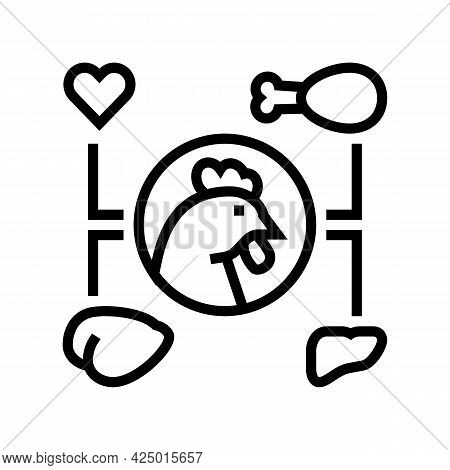 Chicken Eatery Part Line Icon Vector. Chicken Eatery Part Sign. Isolated Contour Symbol Black Illust