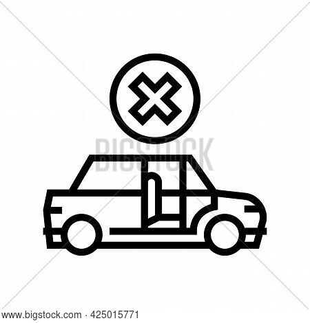 Prohibition To Get In Stranger Car Line Icon Vector. Prohibition To Get In Stranger Car Sign. Isolat