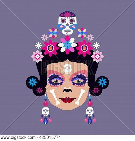 Dia De Los Muertos, Day Of The Dead Or Halloween  Catrina Calavera , Sugar Tatoo Skulls, Candle, Mar