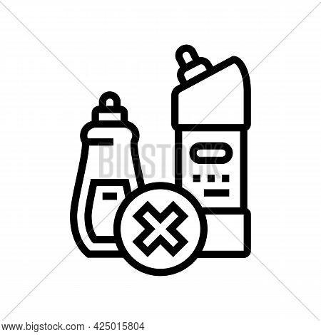 Chemical Liquid Prohibition Children Line Icon Vector. Chemical Liquid Prohibition Children Sign. Is
