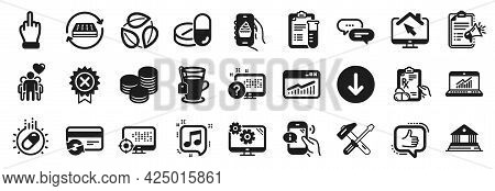 Set Of Business Icons, Such As Medical Drugs, Mattress, Scroll Down Icons. Settings, Hammer Tool, Mi