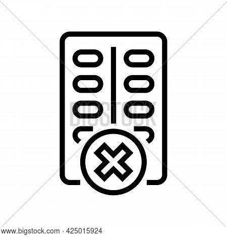 Medicines Prohibition For Children Line Icon Vector. Medicines Prohibition For Children Sign. Isolat