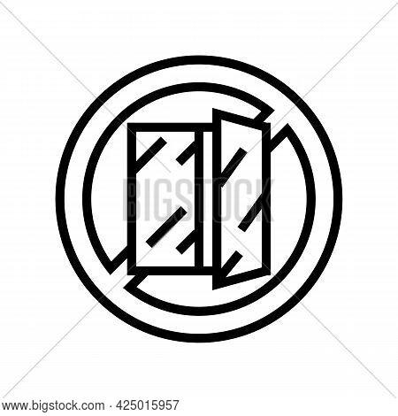 Open Window Prohibition Sign Line Icon Vector. Open Window Prohibition Sign Sign. Isolated Contour S