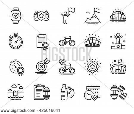 Vector Set Of Bicycle, Cardio Calendar And Sports Stadium Line Icons Set. Arena Stadium, Cardio Bike