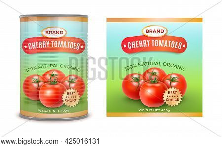 Realistic Detailed 3d Canned Cherry Tomatoes Can And Label Set. Vector