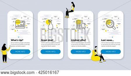 Set Of Line Icons, Such As Spray, Calculator Alarm, Marketing Statistics Icons. Ui Phone App Screens