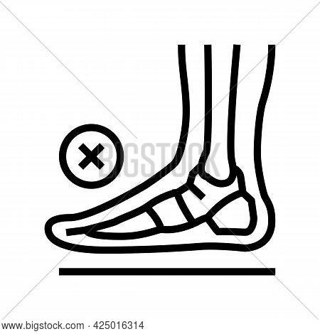 Bone Flat Feet Line Icon Vector. Bone Flat Feet Sign. Isolated Contour Symbol Black Illustration