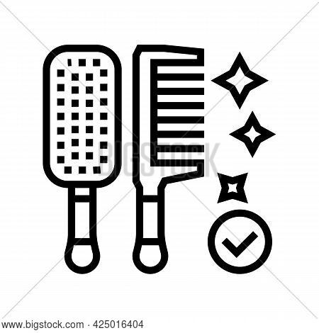 Comb Hairdresser Tool Line Icon Vector. Comb Hairdresser Tool Sign. Isolated Contour Symbol Black Il