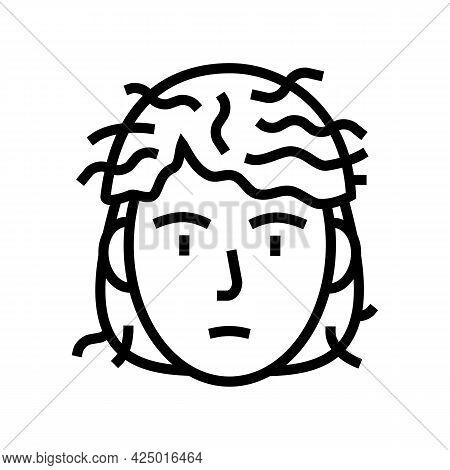 Man Before Keratin Use Line Icon Vector. Man Before Keratin Use Sign. Isolated Contour Symbol Black