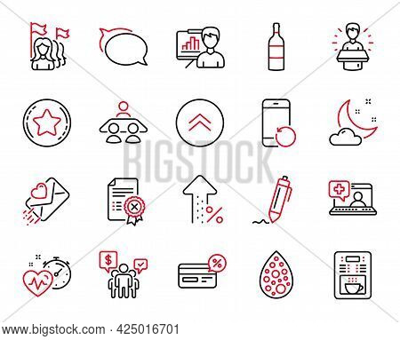 Vector Set Of Business Icons Related To Signature, Love Letter And Medical Help Icons. Increasing Pe
