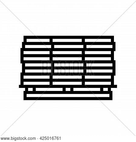 Wooden Planks On Pallet Line Icon Vector. Wooden Planks On Pallet Sign. Isolated Contour Symbol Blac