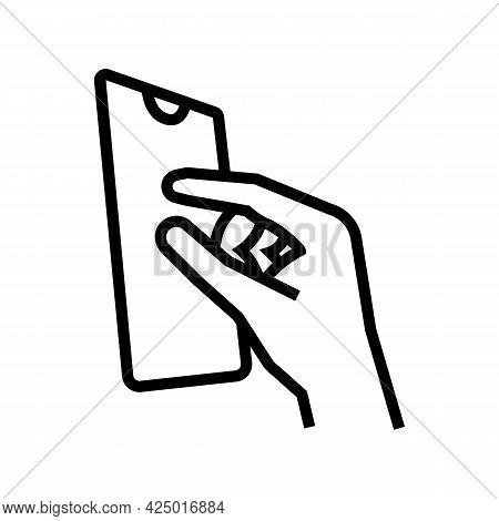 Zooming Photo On Smartphone Screen Line Icon Vector. Zooming Photo On Smartphone Screen Sign. Isolat