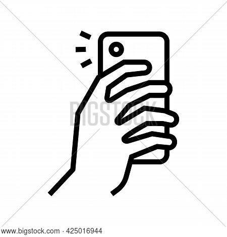 Making Photo On Smartphone Camera Line Icon Vector. Making Photo On Smartphone Camera Sign. Isolated
