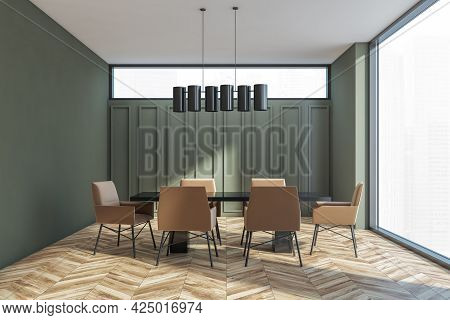Meeting Room Interior With Black Table, Dark Beige Chairs, Moss Green Walls. Narrow Window Above The