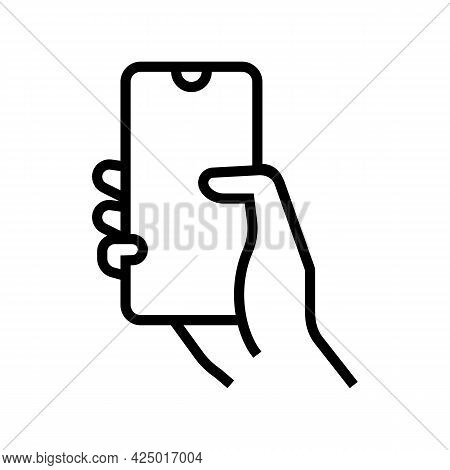 Finger Swiping On Phone Screen Line Icon Vector. Finger Swiping On Phone Screen Sign. Isolated Conto