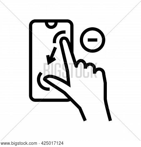 Zoom Out Gesture Phone Screen Line Icon Vector. Zoom Out Gesture Phone Screen Sign. Isolated Contour